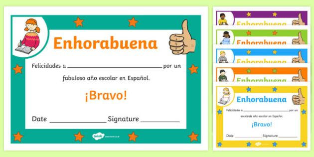 Spanish End of Year Good Year Award Certificate