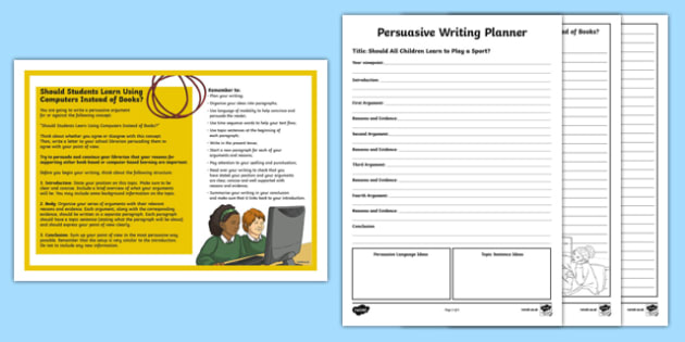 Year 5 Should Students Learn Using Computers Instead of Books? Persuasive Writing Worksheet / Activity Sheet-Australia