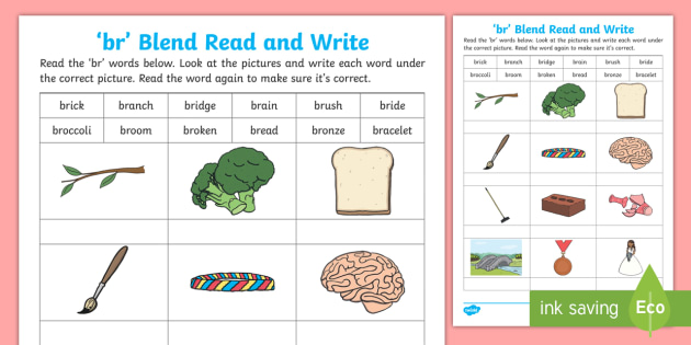 Br Blends Worksheet Phonics Primary Teaching Resources