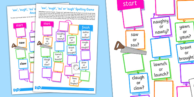 aw ough au or augh Spelling Board Game - spelling, board, game