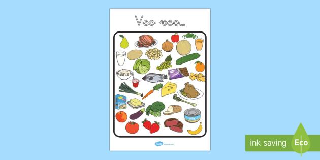 Veo veo:  la comida - coer, sano, saludable, dieta, equilibrada, alimentación, Spanish