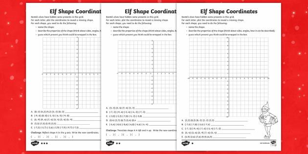 elf shape coordinates differentiated worksheet activity sheets uks2. Black Bedroom Furniture Sets. Home Design Ideas