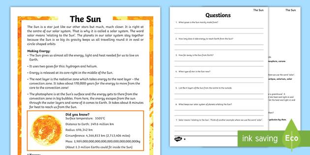 Year 5 Reading Comprehension Worksheets KS2 Science