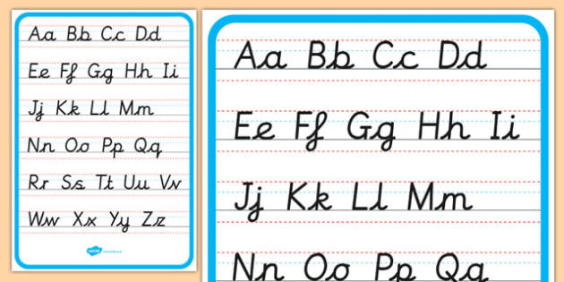Cursive Alphabet Letter Formation Poster Upper and Lower Case