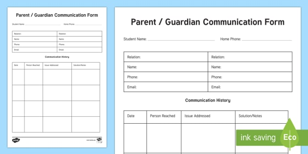 Parent Communication Form Parent and Carer Information Sheet - Classroom Management and Organization, contact, phone, email, communication, parent, guardian, form,