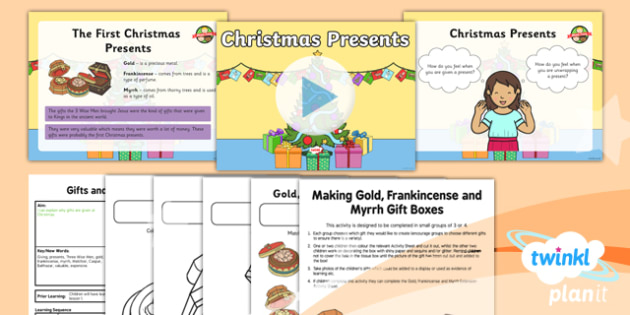Gold Frankincense And Myrrh Christmas Gifts.Re Gifts And Giving Christmas Presents Year 1 Lesson Pack 3