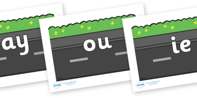 Phase 5 Phonemes on Roads (Plain) - Phonemes, phoneme, Phase 5, Phase five, Foundation, Literacy, Letters and Sounds, DfES, display