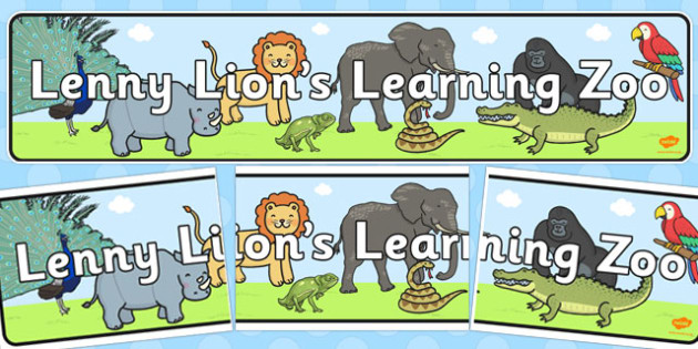 Lenny Lion's Learning Zoo Display Banner - lenny lion, learning zoo, display