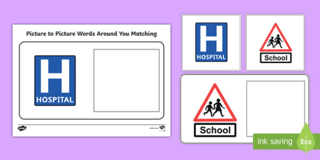 Workstation Pack: Picture to Picture Words Around You Matching 3 Activity