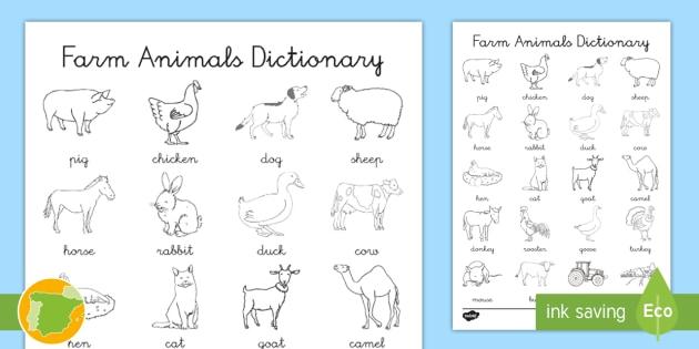 A2 Diccionario Para Colorear Animales De La Granja En Inglés