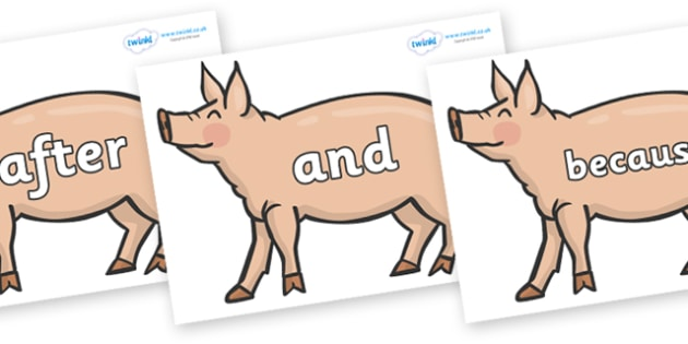Connectives on Pig to Support Teaching on Pig in the Pond - Connectives, VCOP, connective resources, connectives display words, connective displays
