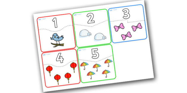1-5 Number and Quantity Matching Cards - number matching cards, number and image matching cards, number and quantity matching cards, 1-5 matching cards