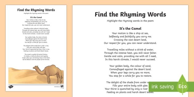 Camel Poem Find The Rhyming Words Worksheet Worksheet Moreover, that tonic syllable must start with a different consonantal sound. camel poem find the rhyming words