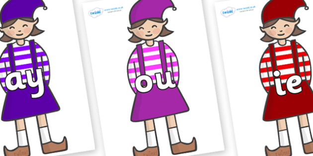 Phase 5 Phonemes on Elf (Girl) - Phonemes, phoneme, Phase 5, Phase five, Foundation, Literacy, Letters and Sounds, DfES, display