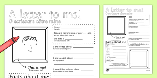 A Letter to Myself Writing Activity Romanian Translation - romanian, letters, ourselves, write