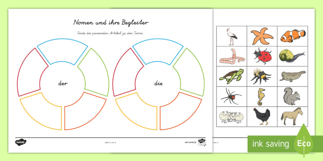 Tiere Und Ihre Artikel Puzzle Sommer Tiere Artikel Grammatik