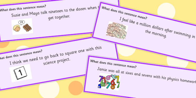 Number Idioms Sentence Cards - number, idioms, sentences, numbers