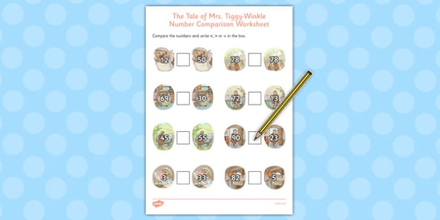 The Tale of Mrs Tiggy Winkle Number Comparison Worksheets - mrs tiggy winkle