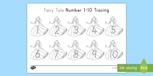 fairy tale numbers 1 10 tracing worksheet activity sheet number. Black Bedroom Furniture Sets. Home Design Ideas