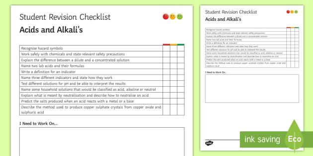Acids and Alkalis Student Revision Checklist - Student Progress Sheet (KS3), acid, alkali, neutralise, hazard symbols, copper sulphate