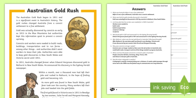 a history of the gold rush of the 1850s in the australian colonial history Australian gold rush timeline the first major mineral discovery - gold - was a watershed (a turning point or landmark) for australian society the initial stages of the gold rush were responsible for tremendous changes in the community, bringing australia's first great waves of immigration from countries other than england and ireland.