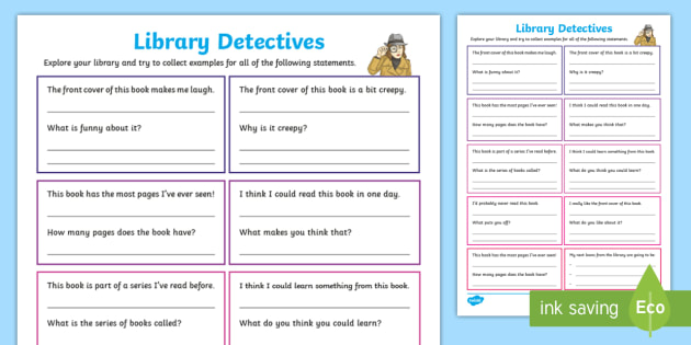 KS2 Library Detectives Worksheet - explore the library, encourage ...
