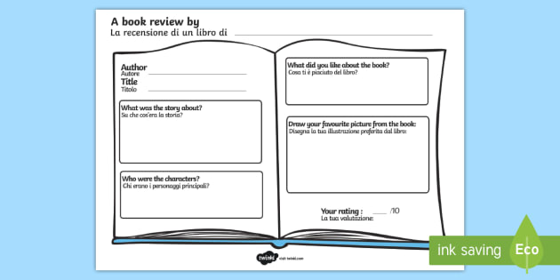 Book Review Worksheet Worksheet English Italian Book