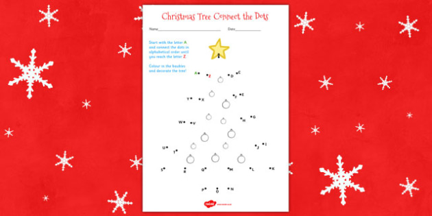 Christmas Tree Connect The Dots Worksheet
