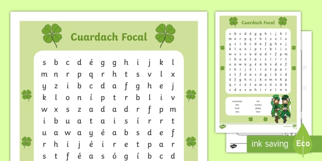 Leprechaun Word Search Gaeilge Worksheet Activity Sheet ROI Irish