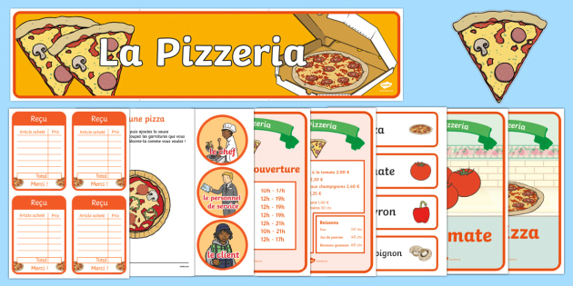 Pizza Parlour Role Play Pack French - Pizza Parlour Role Play Pack, role play, pizza, shop, money, French