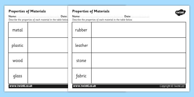 properties of materials worksheet materials materials worksheet. Black Bedroom Furniture Sets. Home Design Ideas