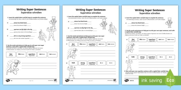 Writing Super Sentences Differentiated Worksheet / Worksheets English/German