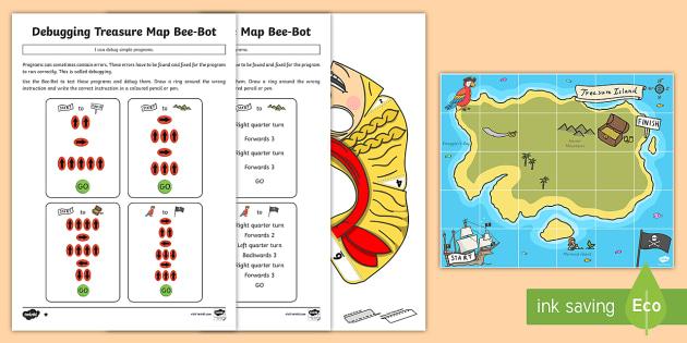 create and debug programs with treasure map bee bot activity