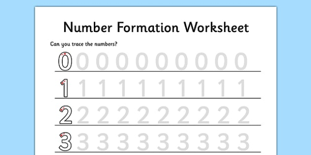 Number Formation Worksheet 0 to 9 - maths, numeracy, initial