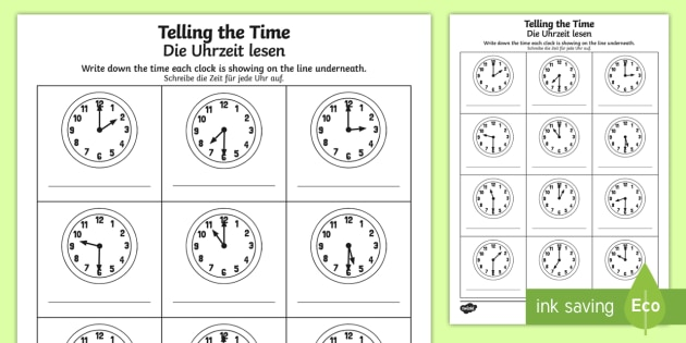 o 39 clock and half past times worksheet worksheet english german o 39 clock. Black Bedroom Furniture Sets. Home Design Ideas