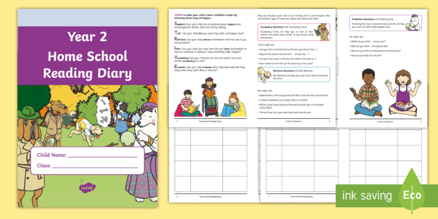 Year 2 Home School Reading Diary Booklet - Year 2 Home School