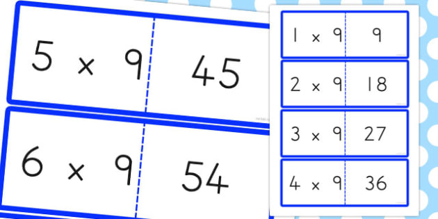 9 Times Table Cards - australia, times table, times tables, cards, 9, times