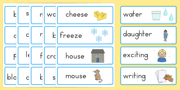 Rhyming Word Cards Rhyme Rhyming Word Cards Word Game Cards