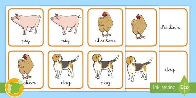 A1 Tarjetas De Emparejar Animales De La Granja En Inglés