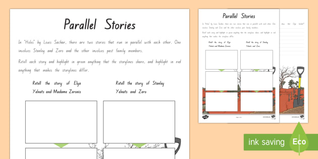 Parallel Stories Worksheet / Activity Sheet - New Zealand Chapter Chat, Chapter Chat NZ, Chapter Chat, Holes, Years 5 & 6, Key Competencies, story