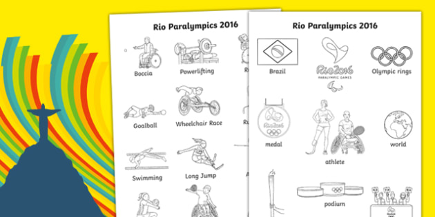 Rio Paralympics 2016 Key Words Colouring Sheet