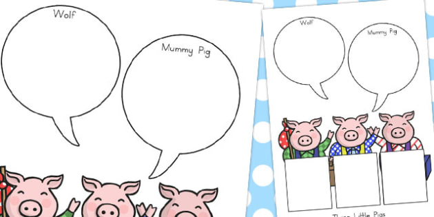 The Three Little Pigs Role on the Wall Worksheets - australia