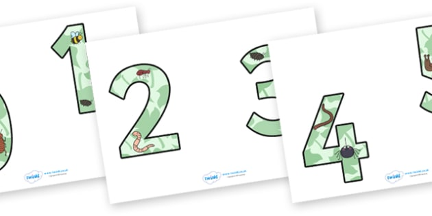 0-9 Display Numbers (Minibeasts) - Display numbers, 0-9, numbers, display numerals, Spring, display lettering, display numbers, display, cut out lettering, lettering for display, display numbers, minibeast, knowledge and understanding of the world, i