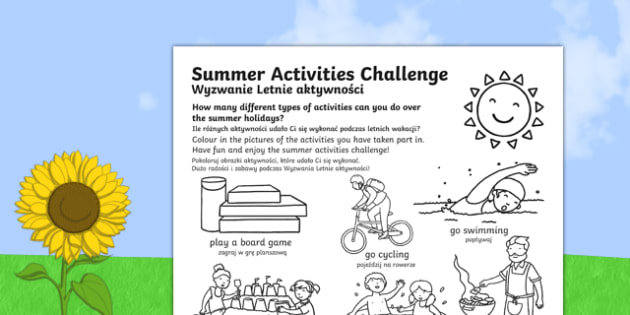 Summer Holiday Challenges Activity Sheet Polish Translation - summer, holidays, summer holidays, activities, games, ideas, challenges, homework, homework, home learning, worksheet