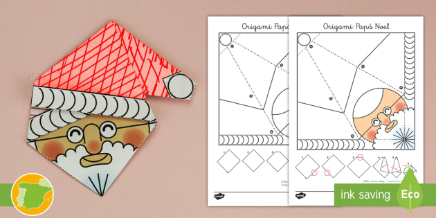 Manualidad Papa Noel De Origami Navidad Natividad Santa - Origami-papa-noel
