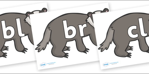 Initial Letter Blends on Badgers - Initial Letters, initial letter, letter blend, letter blends, consonant, consonants, digraph, trigraph, literacy, alphabet, letters, foundation stage literacy