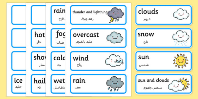 Weather Word Cards Arabic Translation - arabic, weather, word cards, word, cards