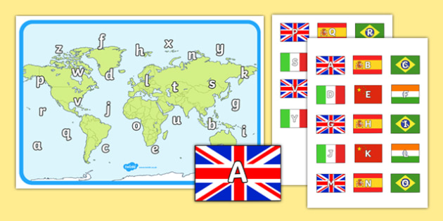World Map Capital and Lower Case Letter Matching Game - world map, capital, lowercase, letters, matching, game, activity, match