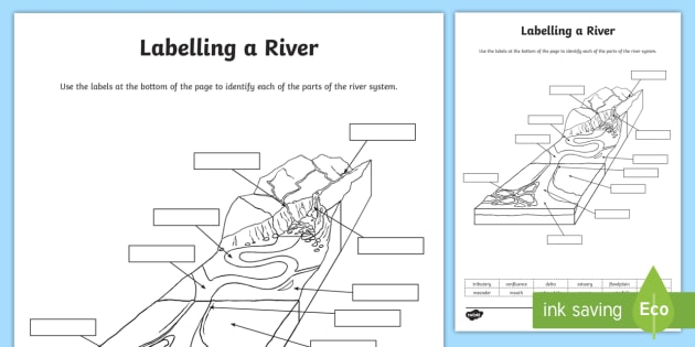 Labelling Parts of a River Worksheet - KS2, Geography, Physical Features