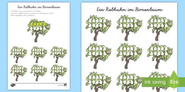 Ein Rebhuhn im Birnenbaum Arbeitsblatt - Mathe, Brüche